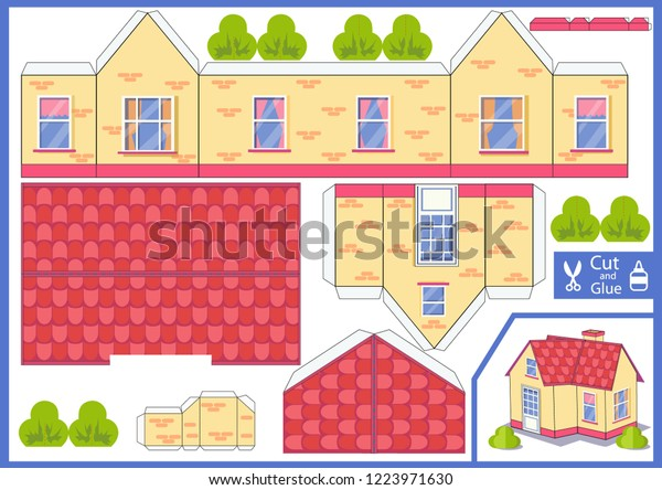 3d House Cut Glue Paper House Stock Vector (Royalty Free