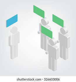3d a human holding blue sign and three human holding green sign, vector