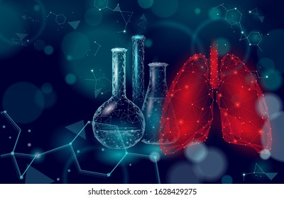 3D human lungs medicine microscopic research concept. Respiratory virus infection cancer danger analysis. Therapy of tuberculosis hospital poster template vector illustration