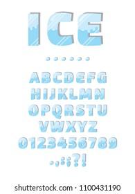 3d ice font illustration