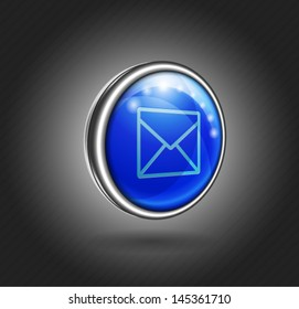 3d icon blue glass with metal shell, email