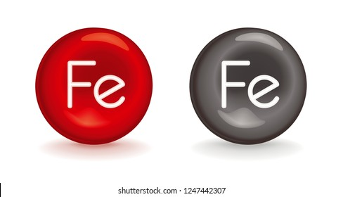 3d icon of Fe iron - red erythrocyte symbol or gray metallic mineral with Fe ferrum - hematopoietic element in anemia - comprehensive nutrient or dietary supplement