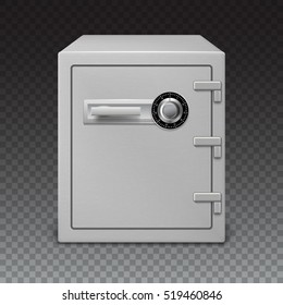 3D icon metal box on a transparent background, front view. Safe with digital lock with sophisticated details. Realistic vector image
