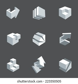 3d icon set. Vector illustration of abstract arrows and cubes, low poly style. Design element for banner, poster, flyer, cover, brochure. Polygonal geometric figures. Logo design.