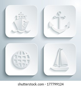 3D icons set - ship, anchor, globe, yacht. White app buttons. Eps10