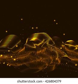 3D illuminated abstract glowing particles and wireframe. Futuristic vector illustration. HUD element. Technology concept. Abstract background