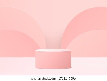 3d illustration, abstract geometric background vector, minimalistic 3d primitive shapes, modern mock up, cylinder podium, stand template, rose white grid, empty showcase, shop display, pastel pink