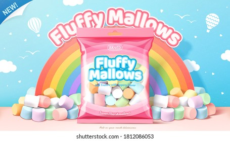 3d illustration ad of fluffy marshmallows, package of marshmallows against rainbow in blue sky