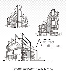 3D illustration architecture abstract modern building design set.