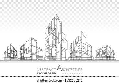 3D illustration architecture building construction design abstract background.