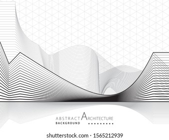 3D illustration architecture building construction perspective design abstract background. - Shutterstock ID 1565212939