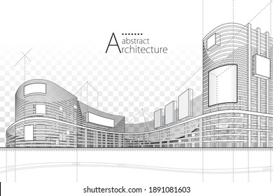 3D illustration architecture building construction perspective design,abstract modern urban building line drawing. - Shutterstock ID 1891081603