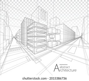 3D illustration architecture building construction perspective design,abstract modern urban building line drawing. - Shutterstock ID 2015386736