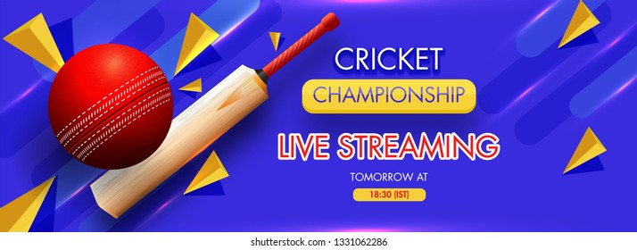 3D illustration of bat with ball and abstract element on blue background for Live Streaming Cricket Championship header or banner design.