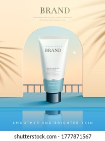 3d illustration of beauty product ad, background design of dusk view through arch window, concept of summer skin care