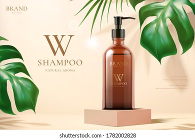 3d illustration of beauty product ad template, shampoo mock-up set on cube podium with monstera and tropical leaves, concept of luxury skincare