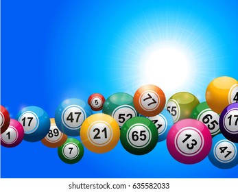 3D Illustration of Bingo Balls Floating Over a Blue Sunny Sky Background