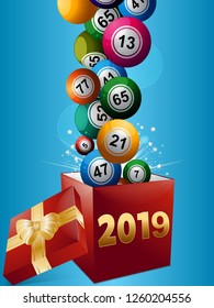 3D Illustration of Bingo Lottery Balls Popping Out From a Red Gift Box with 2019 in Numbers and Ribbons and Bow Over Blue Background