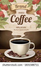 3d illustration black coffee cup on wooden table with engraving style coffee fruit effect, beverage ads