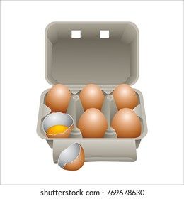 A 3D illustration of a box of eggs to promote quality eggs. On a white background, a box with a special molding to protect the eggs. Inside five whole beige eggs and a broken egg.