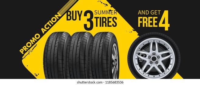 3D illustration of car tire. Wheel.  Tire set car advertisement poster. Black rubber tire. Realistic vector shining disk car wheel tyre. Aluminum wheels. Banner. Promo. Information. Store.