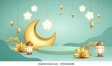 3D illustration of classic teal Muslim Islamic festival theme product display background with crescent moon and Islamic decorations.