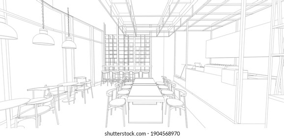 3D illustration of coffee shop interior
