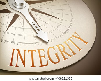 3d illustration compass needle pointing the word integrity