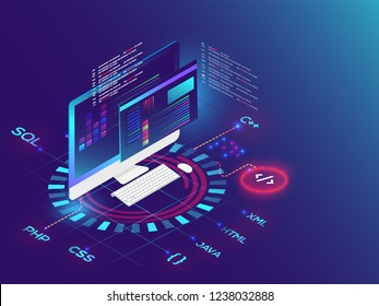 3D illustration of desktop with different programming language on futuristic background for Coding and Programming concept.