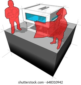 3d illustration of diagram of a modern house and architect with happy smiling customer standing in front of it