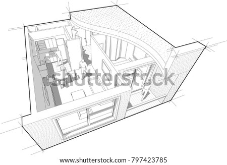 3 D Illustration Diagram One Bedroom Apartment Stock Vector (Royalty House Sketch Design Flat Roof on construction house designs, pitched roof house designs, gable roof house designs, luxury house designs, butterfly roof house designs, indian house designs, tile roof house designs, 2015 house designs, architect house designs, modern house roof designs, types of house roof designs, green roof house designs, gambrel roof house designs, architecture modern house designs, landscaping house designs, remodeling house designs, hipped roof house designs, skillion roof house designs, 4-bedroom bungalow house designs, flat houses design model,