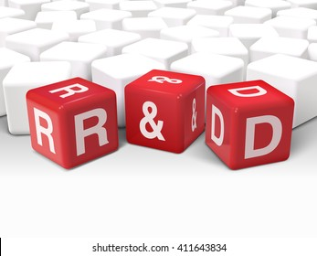 3d illustration dice with word R and D research and development on white background