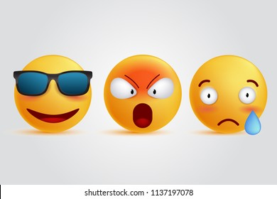 3d illustration emoticon set. smile sad angry cool face expressions, social media reactions vector