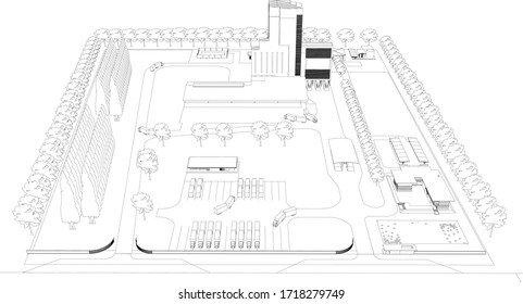 3D illustration of factory layout in wireframe - vector perspective