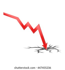 3D Illustration of falling economy with surface crack, the concept of economic crisis, vector of falling rates of trade, eps 10