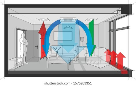 3d illustration of furnished room with french window and convector ventilated and cooled by ceiling built in air ventilation and air conditioning