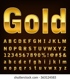 3d illustration of gold font set