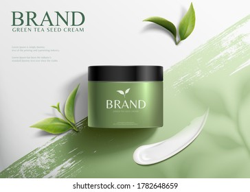 3d illustration green tea seed cream ads, product lying on brush stroke background in top view angle