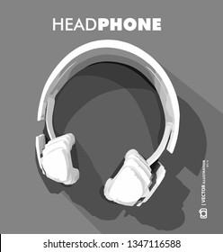 3D illustration, Headphone icon on grey background