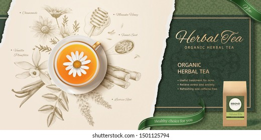 3d illustration herbal tea in top view perspective, engraving style herbs ingredients background