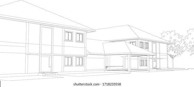 3D illustration of housing building in wireframe - vector perspective