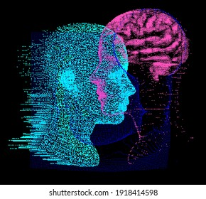 3D Illustration Human Brain Anatomy made of Pixels and Particles For Neural network and Machine Learning concept. Sci-fi futuristic cyberpunk style.