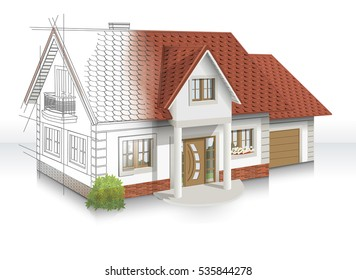 3d Illustration Of An Idea And Implementation Of House