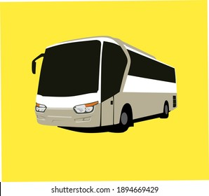 3d illustration image of a bus car with a yellow background. Indonesian tourism bus car