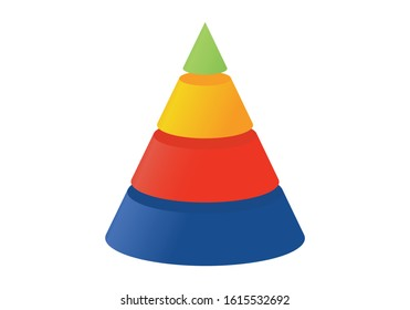 3D illustration infographic template with cone divided to four  parts. Pyramidal shapes icons.