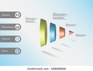 3D illustration infographic template with motif of round cone vertically divided to four color parts with simple sign and sample text on side in bars. Light blure gradient is used as background.