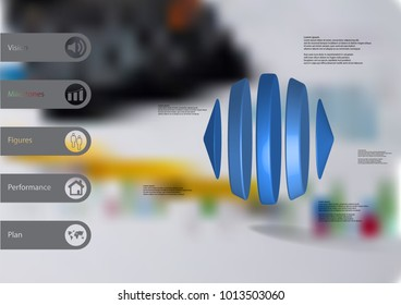 3D illustration infographic template with motif of two cones and three cylinders between horizontally arranged with blue color with simple sign and sample text on side in bars and blurred background.