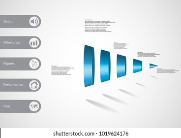 3D illustration infographic template with motif of round cone vertically divided to Five blue parts with simple sign and sample text on side in bars. Light grey gradient is used as background.