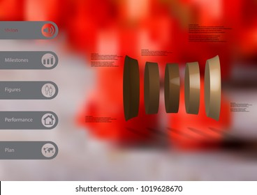 3D illustration infographic template with motif of deformed cylinder vertically divided to five brown parts with simple sign and sample text on side in bars. Blurred photo is used as background.