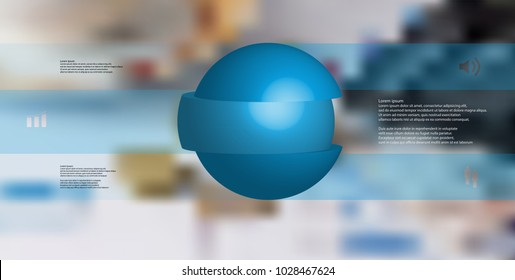 3D illustration infographic template with motif of sliced ball to three blue parts which are stacked with shifted elements. Simple sign and text is in color banners.  Blurred photo used as background